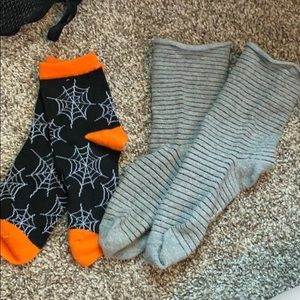Gray slouchy fit socks and Halloween socks